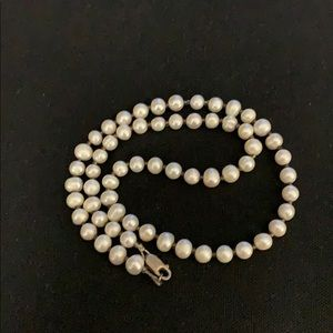 """Real pearl necklace on sterling 20"""""""